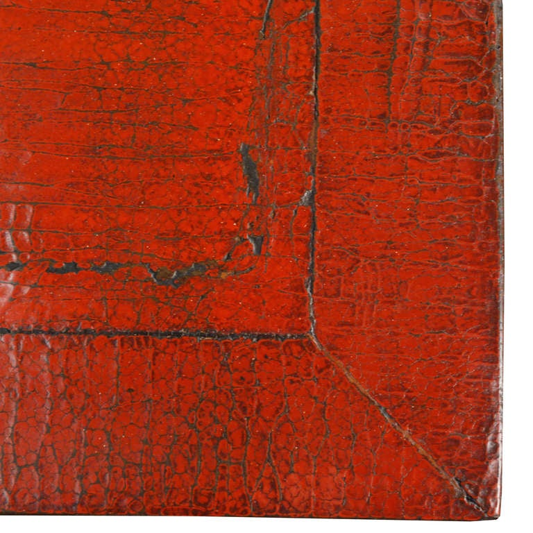 Chinese red lacquer square platform table at 1stdibs for Red chinese furniture