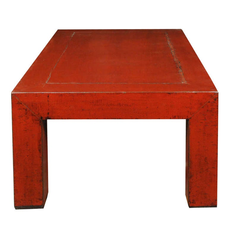 Red Crackle Lacquered Chinese Tea Table 3