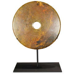 Chinese Stone Bi Disc on Stand