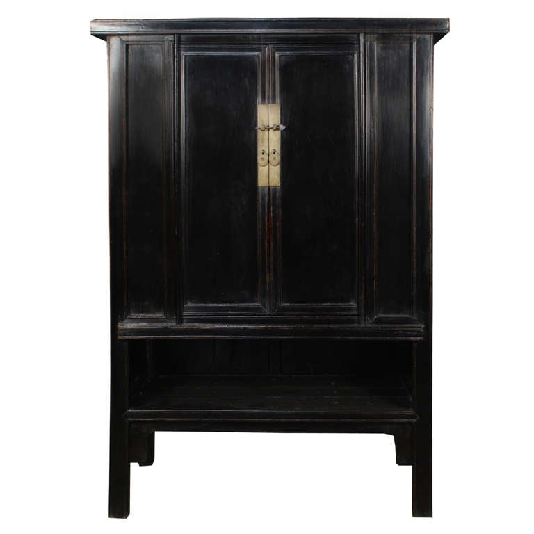 A Pair Of 19th Century Chinese Black Lacquer Elmwood Cabinets Each With Two Doors Br