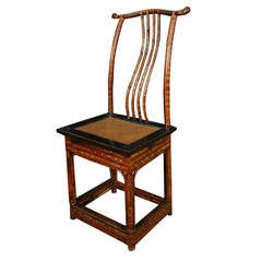 Chinese Bamboo Dining Chairs with Woven Seat