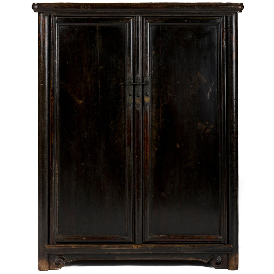 19th century chinese tapered black lacquer round corner