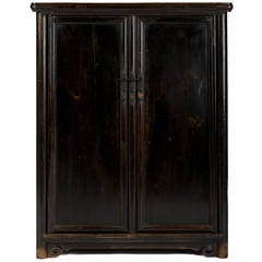 19th Century Chinese Tapered Black Lacquer Round Corner Book Cabinet