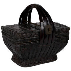 Early 20th Century Chinese Fine Woven Basket with Handle