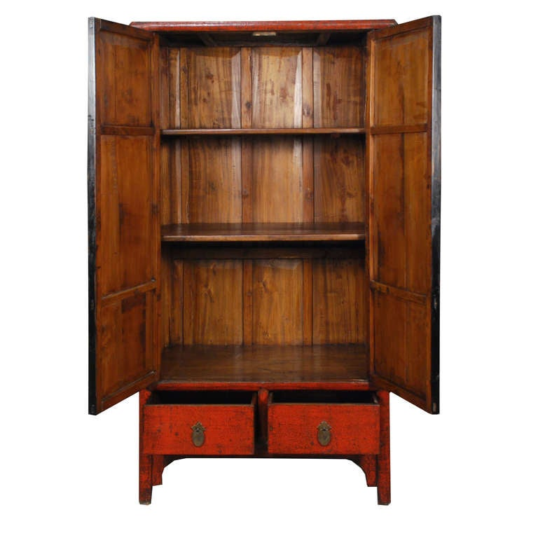 Crackle Kitchen Cabinets: Chinese Red Crackle Lacquer Cabinet For Sale At 1stdibs