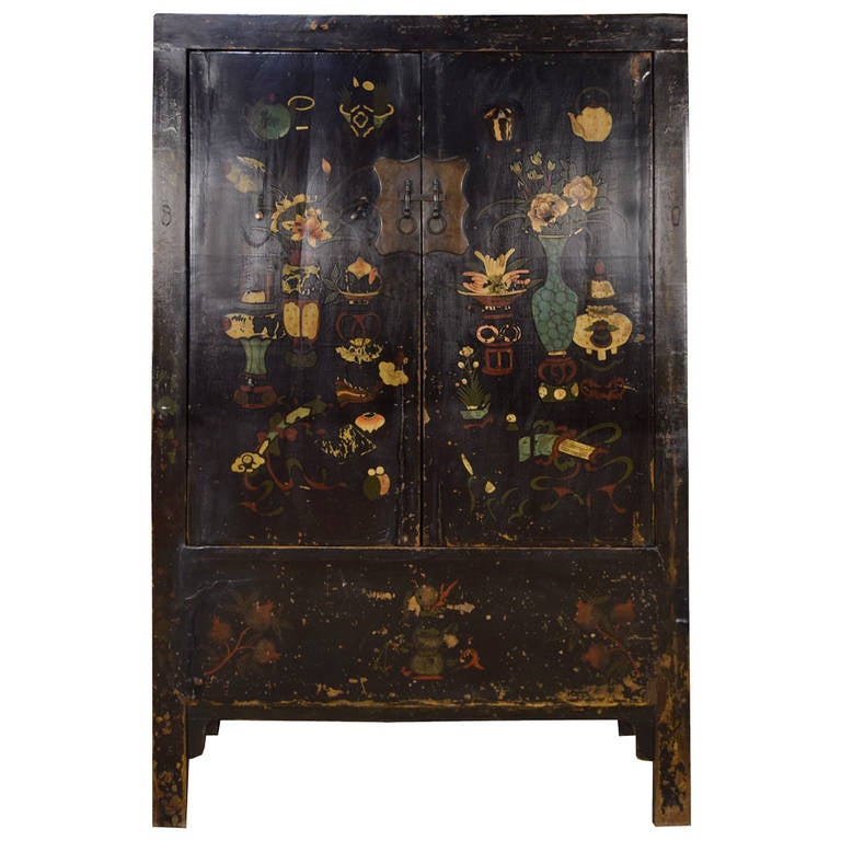 19th century chinese black lacquer wucai cabinet for sale for Chinese black lacquer furniture