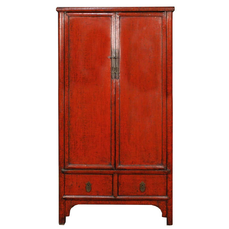 chinese red crackle lacquer cabinet for sale at 1stdibs