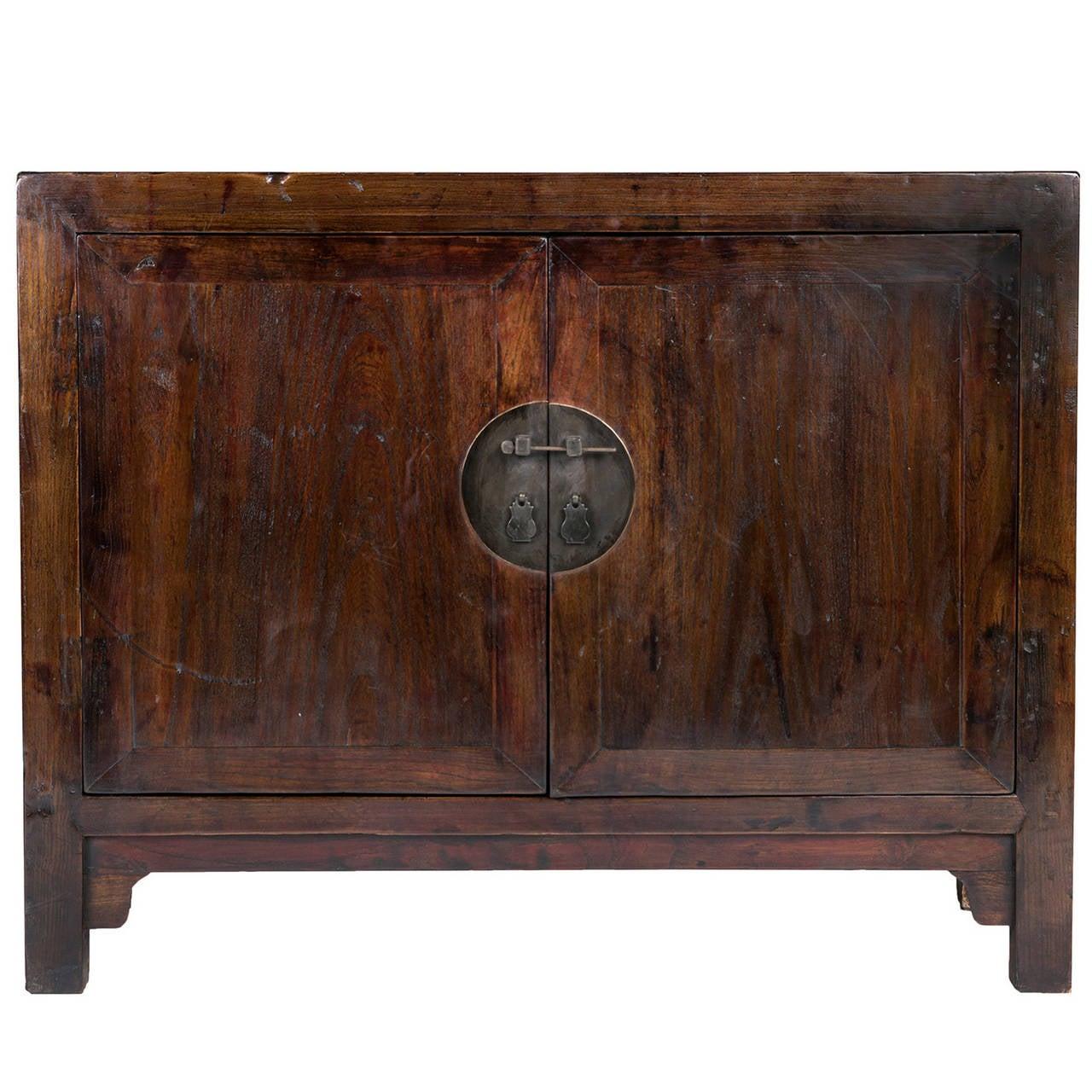 Elmwood Kitchen Cabinet Door Styles: 19th C. Chinese Low Two Door Elmwood Cabinet At 1stdibs