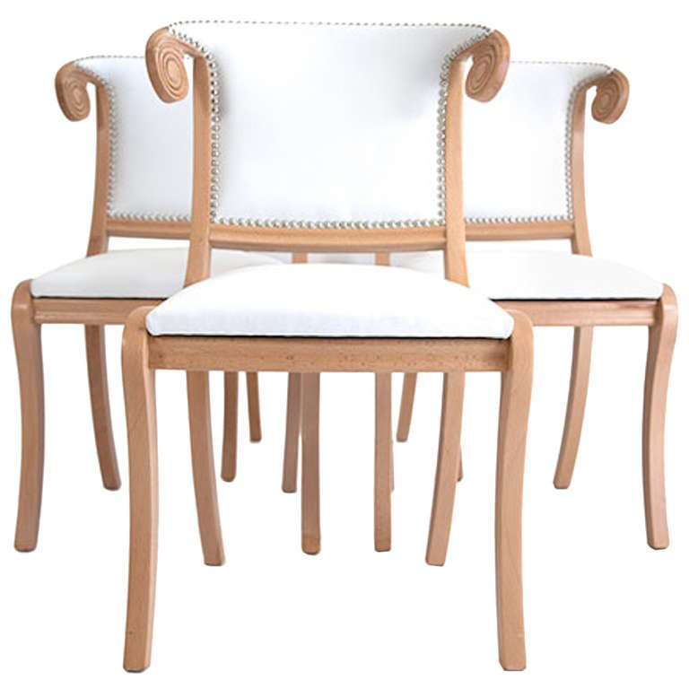 Hollywood Dining Chairs with Horn Backs at 1stdibs