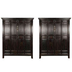 Pair of 19th Century Chinese Four Panel Cabinets