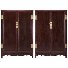 Pair of Chinese Ironwood Book Cabinets
