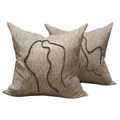 Pair of Thai Woven Linen Pillows with Chinese Pearls