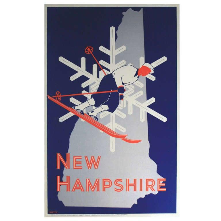 1930s Art Deco Skiing Poster New Hampshire At 1stdibs