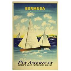 Mid-Century Pan Am Poster by McKnight Kauffer 'Bermuda'