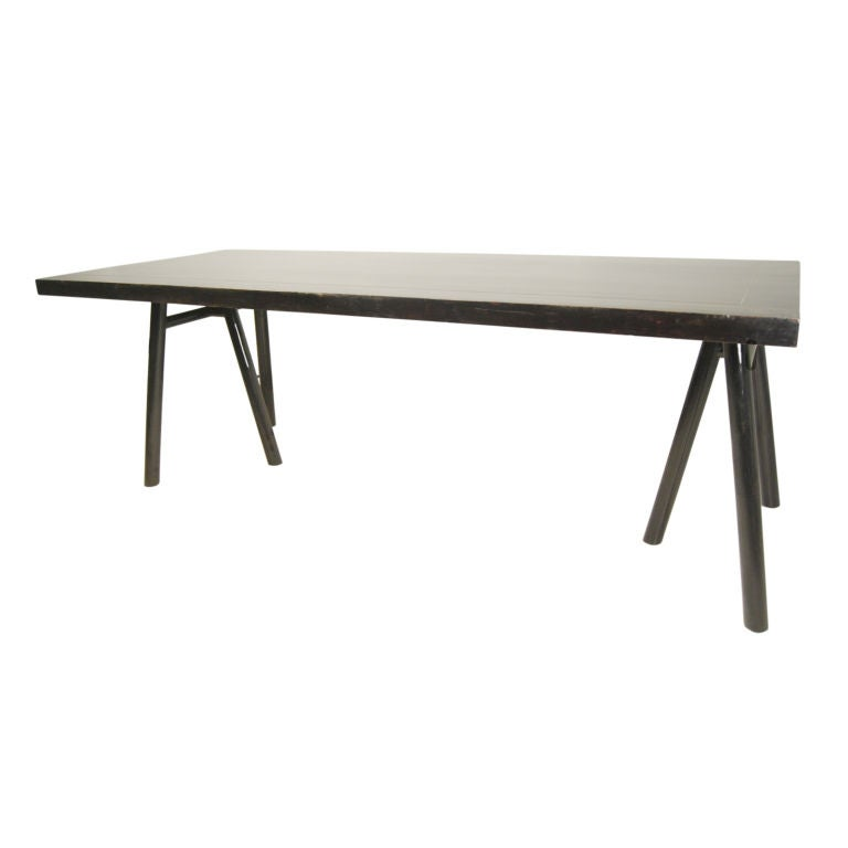 Black Lacquer Dining Room Table: Black Lacquer Trestle Table At 1stdibs