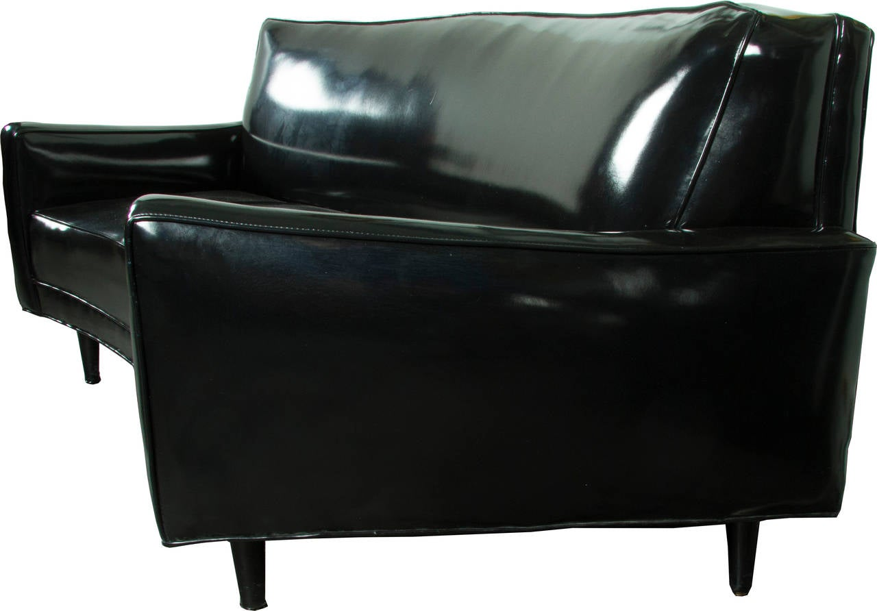 Moderne Patent Leather Loveseat At 1stdibs