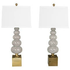 Pair of Dino Martens Mezzanine Filligrana Italian  Glass Lamps