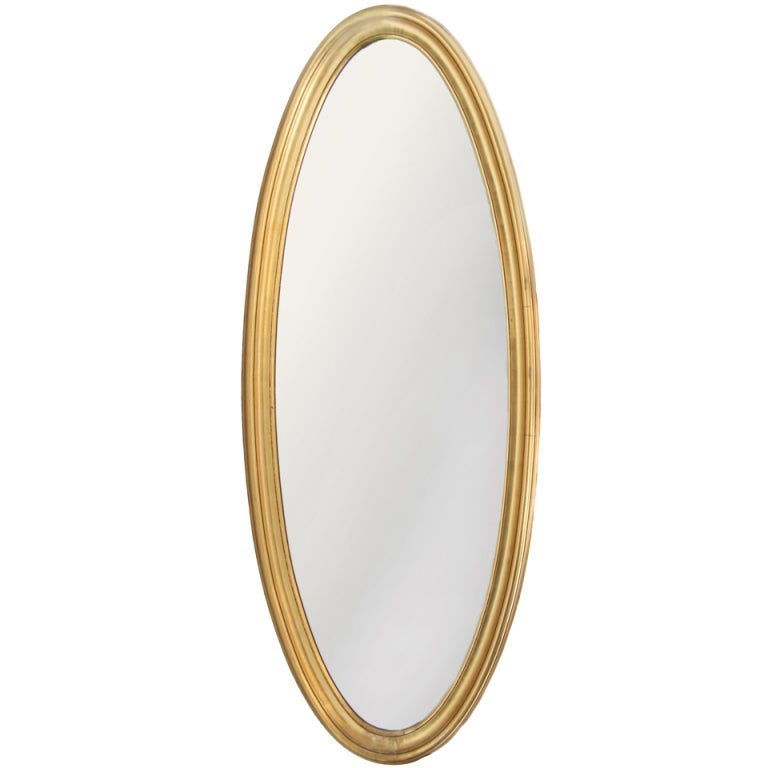 1950 39 s long oval gold leafed mirror at 1stdibs