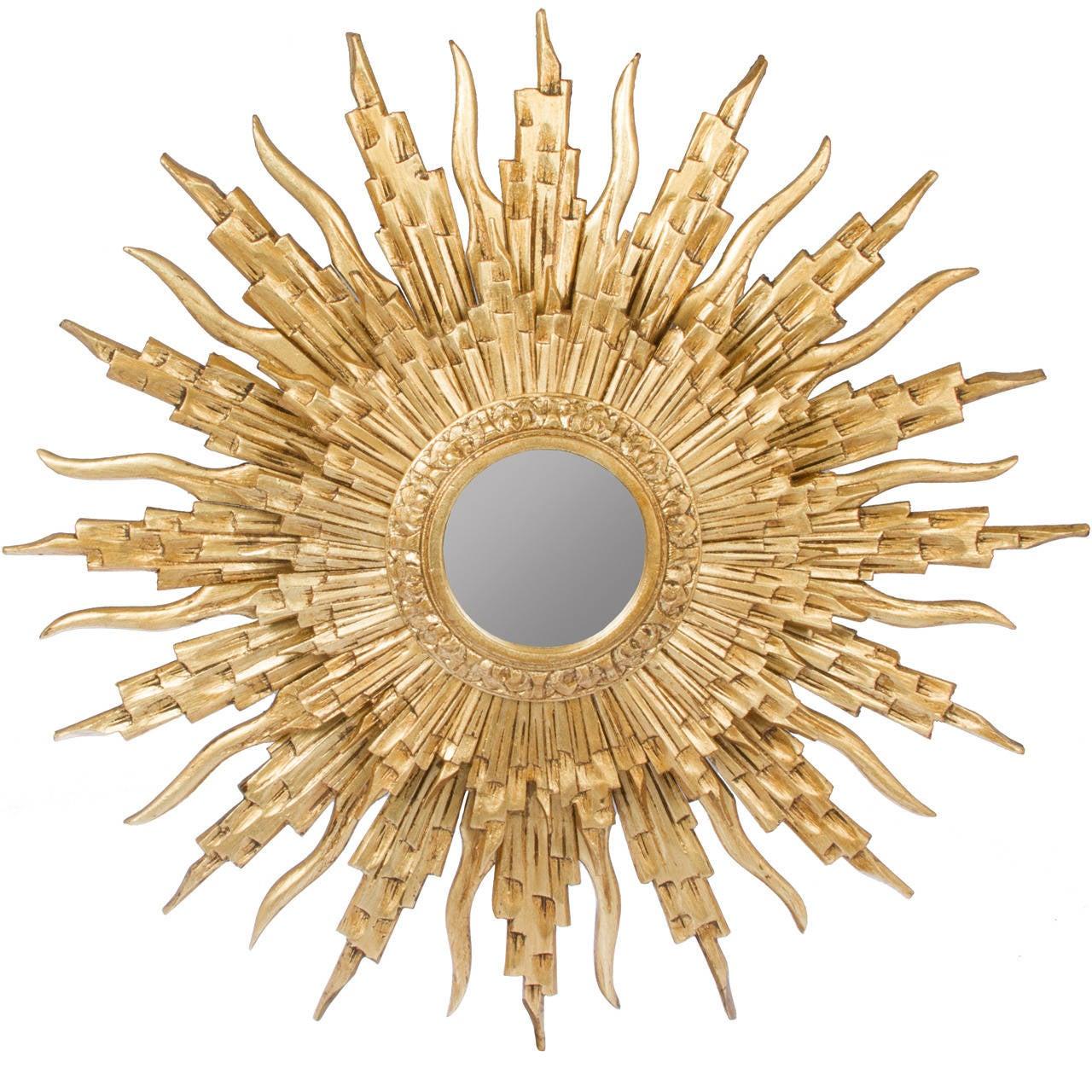 European gold gilt hand carved wood sunburst mirror at 1stdibs for Sunburst mirror