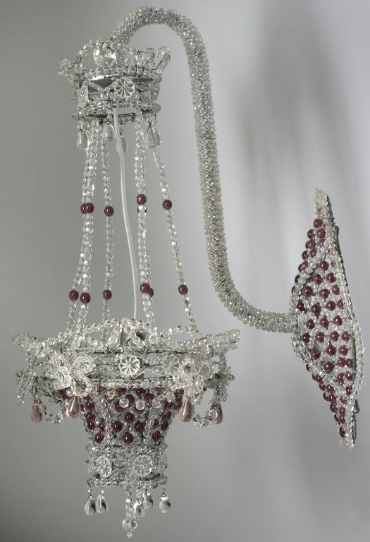Beaded Crystal Wall Sconces : Gorgeous Beaded Basket Crystal Sconces at 1stdibs