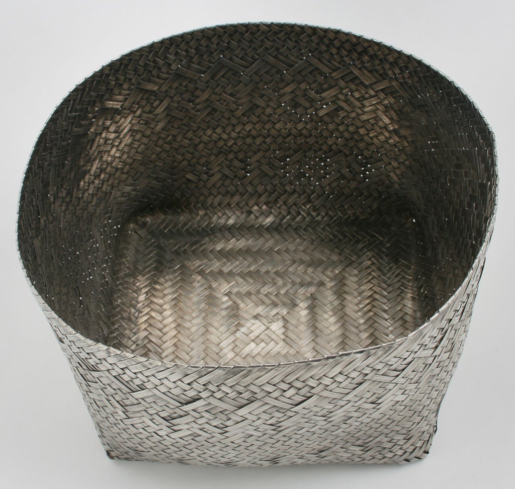Woven Basket Building : Woven tiffany sterling silver orchid basket at stdibs