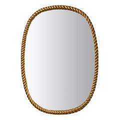 Hand Carved Gold Leafed Oval Rope Mirror