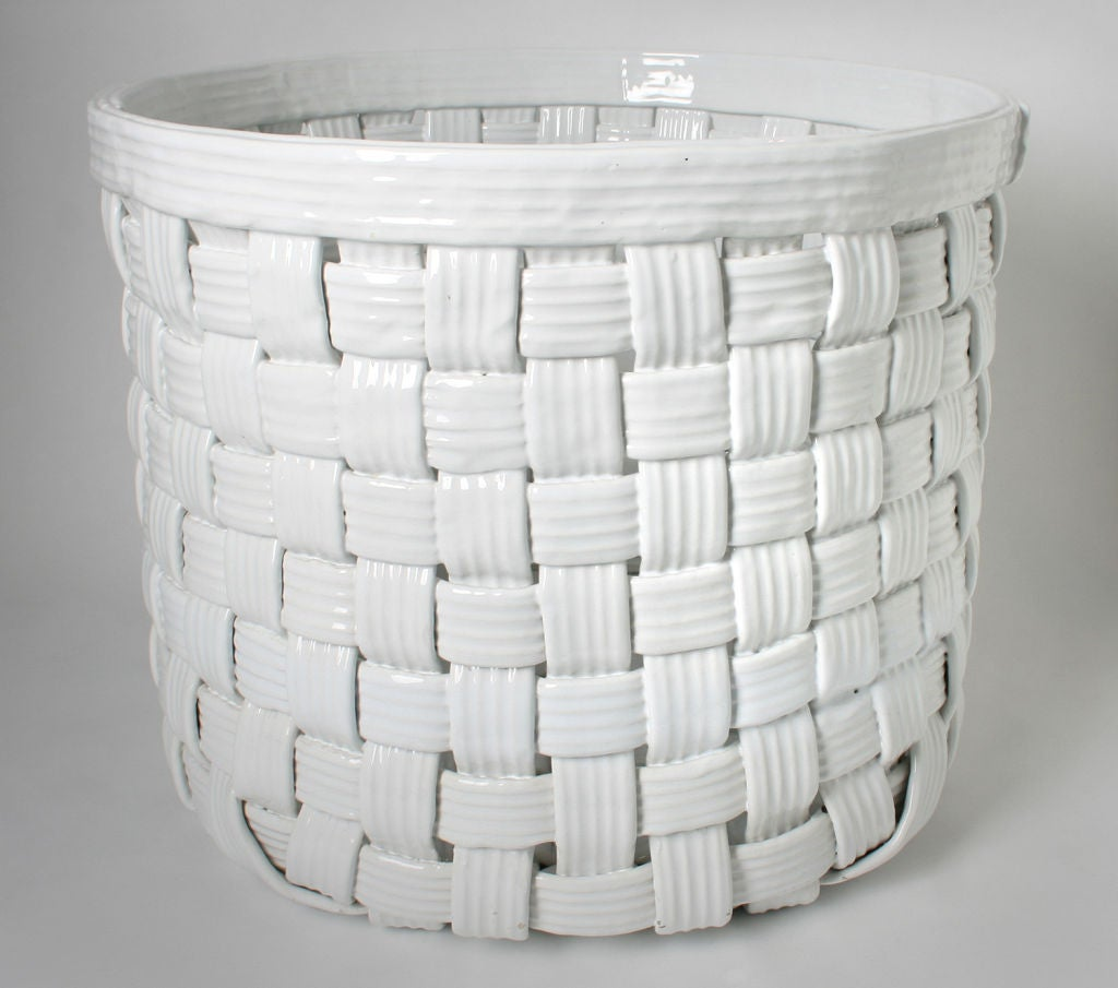 Large Woven White Italian Ceramic Baskets Planters At 1stdibs