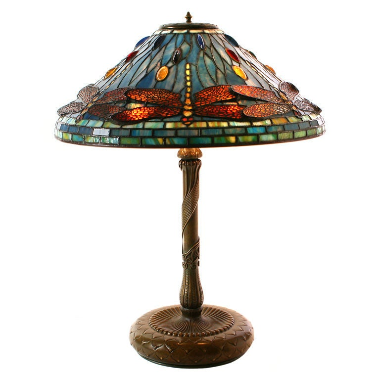 Tiffany Studios Blue Dragonfly Lamp With Multi Colored