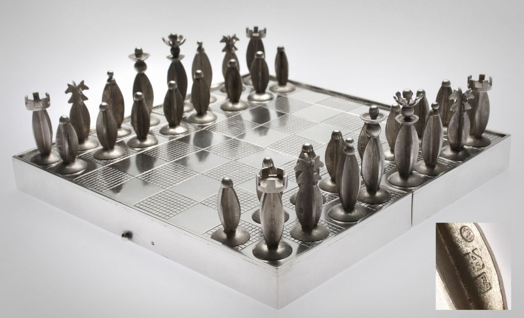 Art Deco Polish Silver Traveling Chess Set At 1stdibs