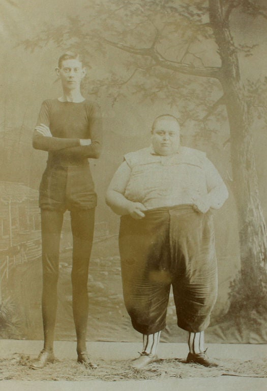 "Pair of  ""Thick and Thin""  Circus Photos image 3"