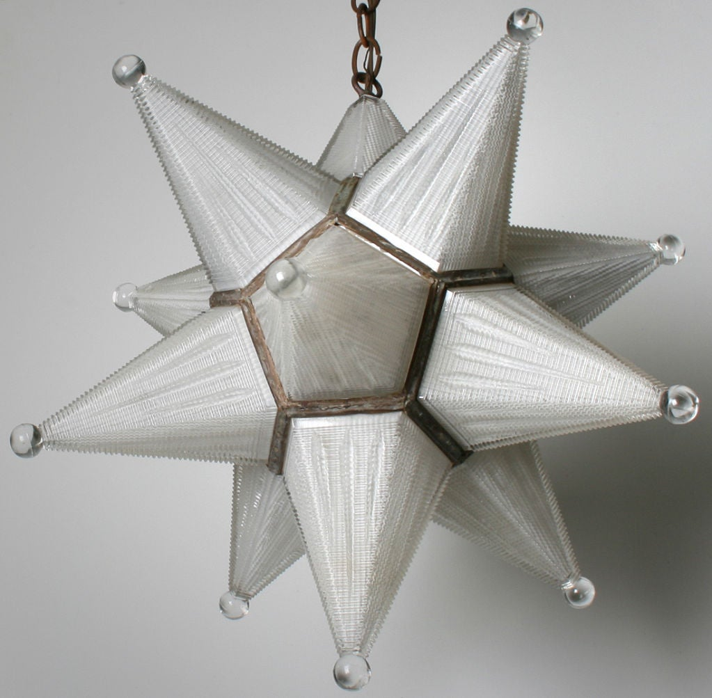 Fabulous Glass Star Hanging Fixture At 1stdibs