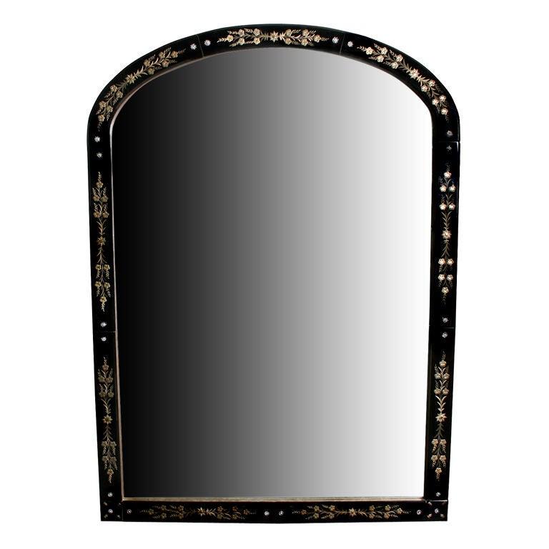 Large black venetian reverse carved mirror at 1stdibs for Black venetian mirror