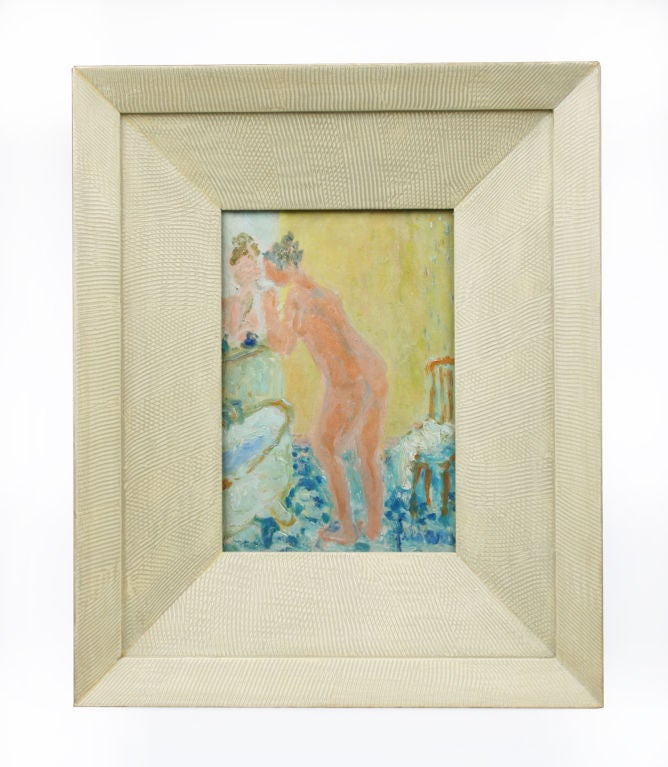Female Nude Bathing. Oil on Canvas. Image size, 6.75