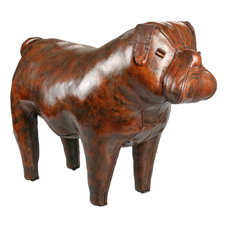 Abercrombie And Fitch English Bulldog Leather Footstool At