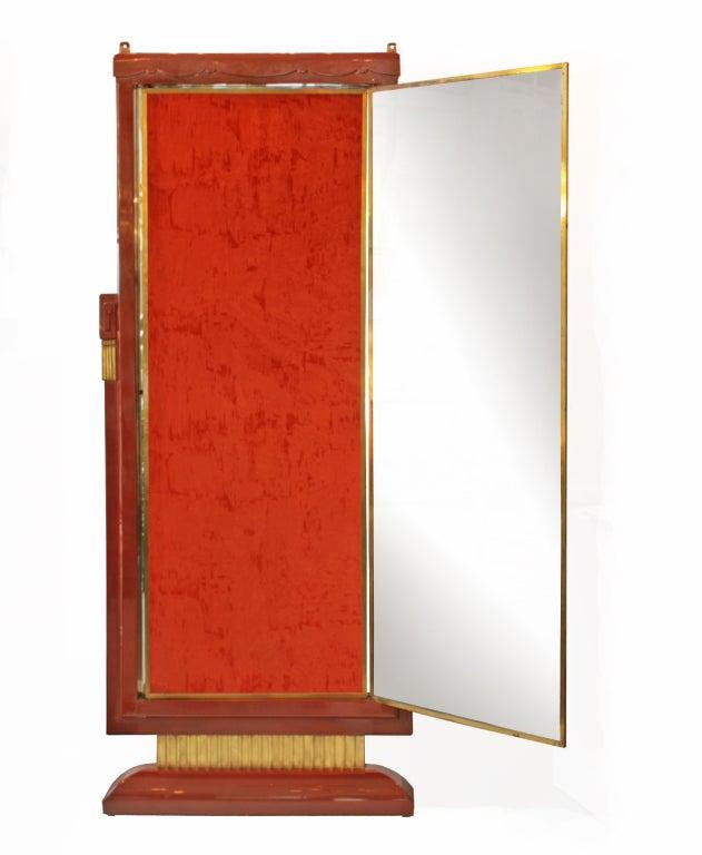 French art deco lacquered three panel floor mirror miroir for Miroir art deco