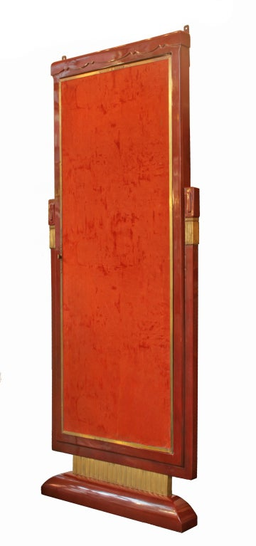 French Art Deco Lacquered Three Panel Floor Mirror Miroir