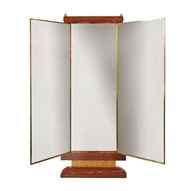 French art deco lacquered three panel floor mirror miroir for Miroir brot paris mirrors