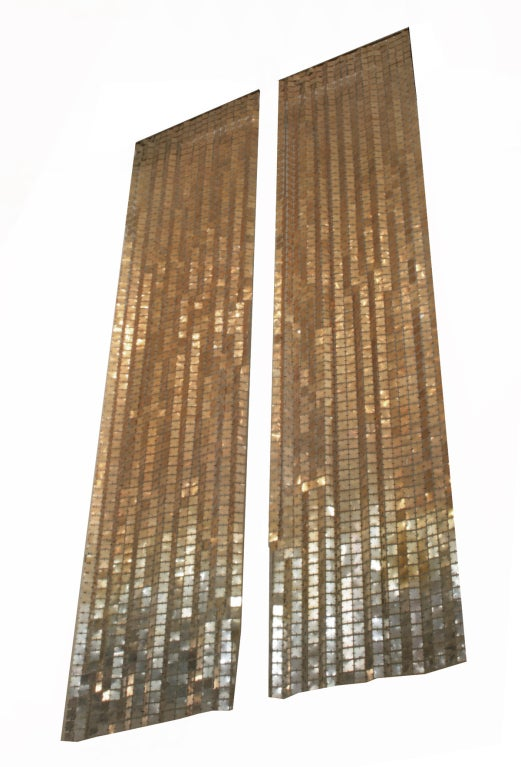 Copper Curtain Wall : Paco rabannne space curtains copper gold to silver at stdibs