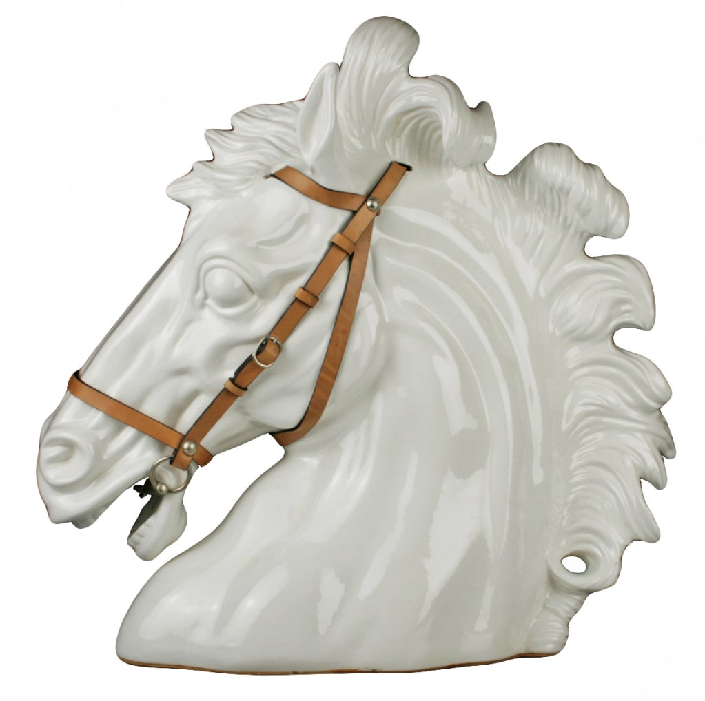 Italian Ceramic Horse Head By Gucci At 1stdibs