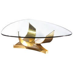 Coronet Brass Coffee Table by Ron Seff