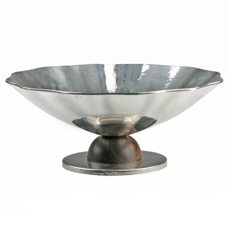 Modernist art deco silver footed centerpiece bowl by franz