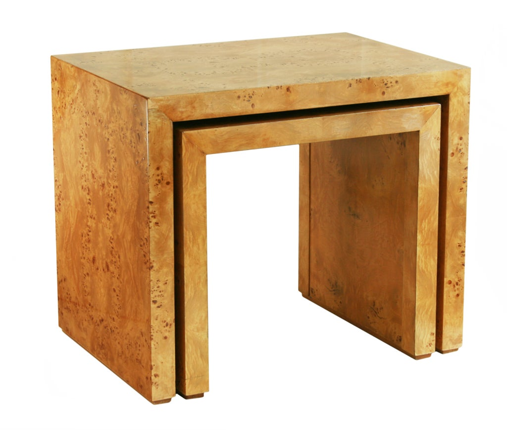 These Beautiful Nesting Tables Have A Wonderful Burled Veneer. The . Full resolution  portraiture, nominally Width 1024 Height 869 pixels, portraiture with #B1771A.