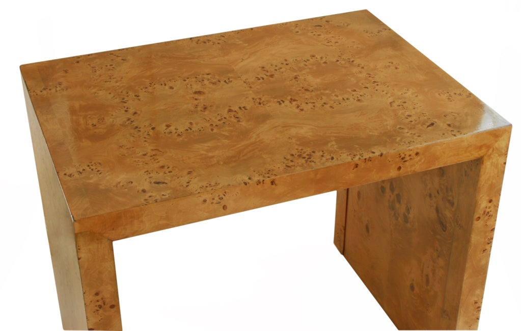 Beautiful burled wood nesting tables by milo baughman at