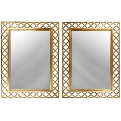 Pair of Hand Carved Gold Gilt Italian Gilt Mirrors with Lattice Borders