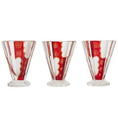 Collection of Three Art Deco Enameled Cut and Polished Vases
