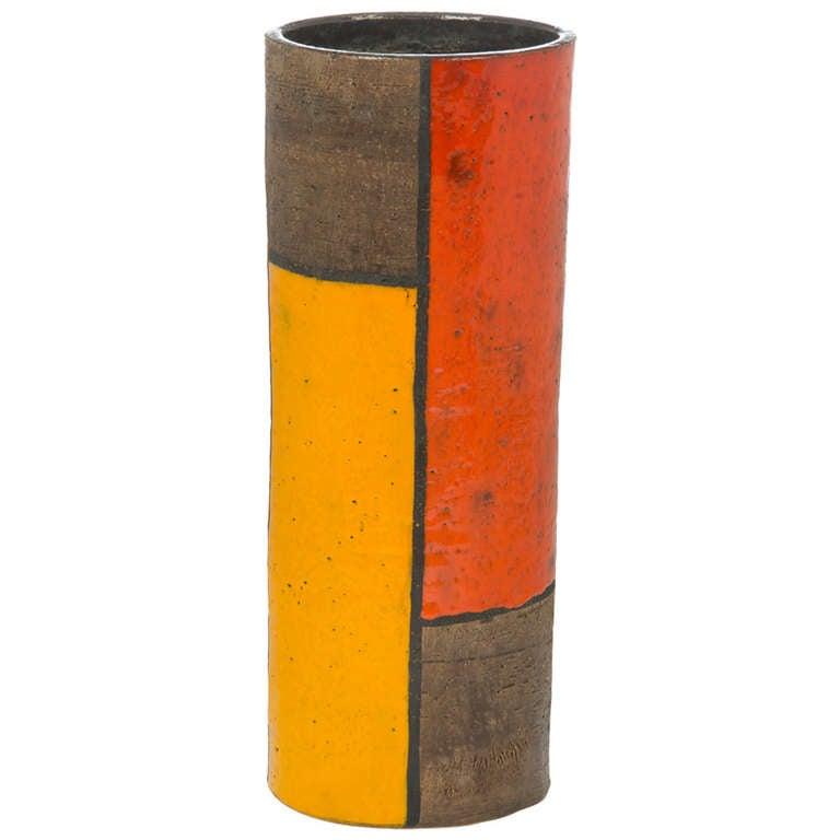 Tall aldo londi mondrian ceramic vase for bittosi at 1stdibs for Mondrian vase