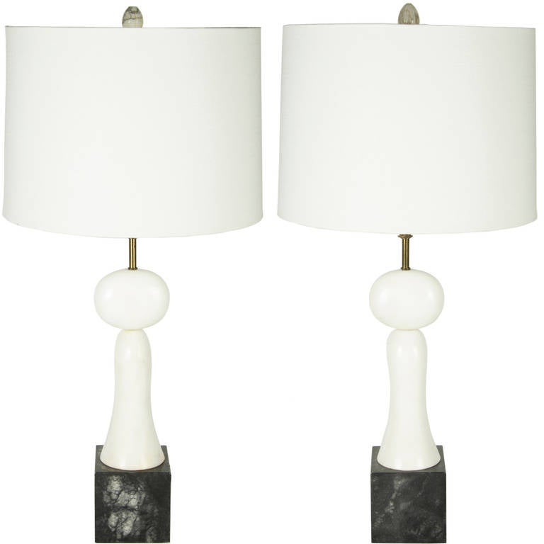 exceptionally designed black and white marble table lamps at 1stdibs. Black Bedroom Furniture Sets. Home Design Ideas