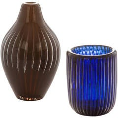 Pair of Orrefors Ariel Cabinet Vases by Edvin Ohrstrom