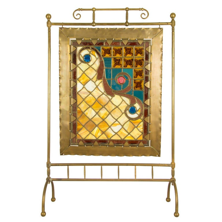 Leaded Glass Fireplace Screen Beautiful Made Leaded