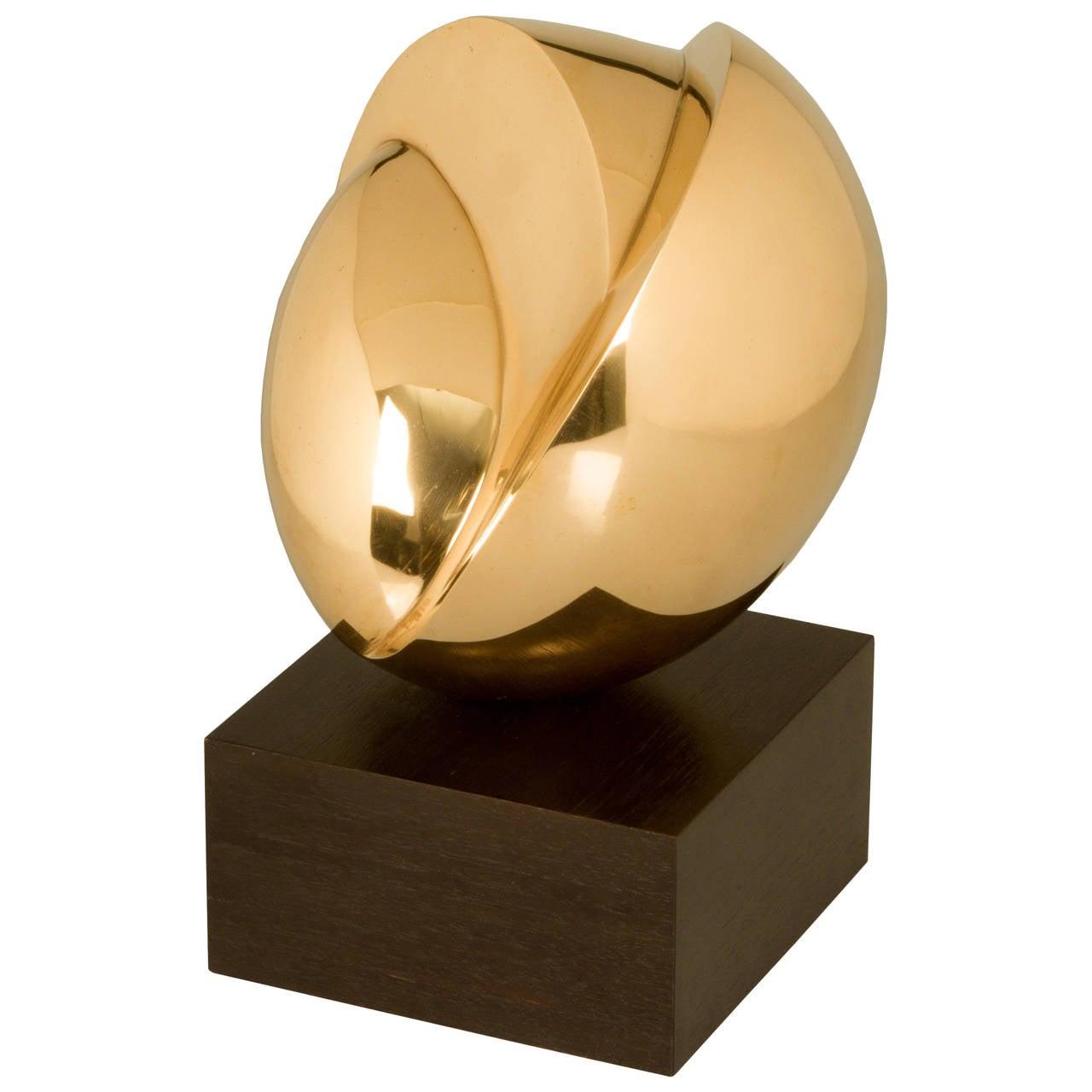Modernist Polished Bronze Sculpture By Odell Prather At